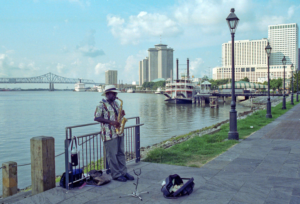 New Orleans Jazz Musician on the Mississippi